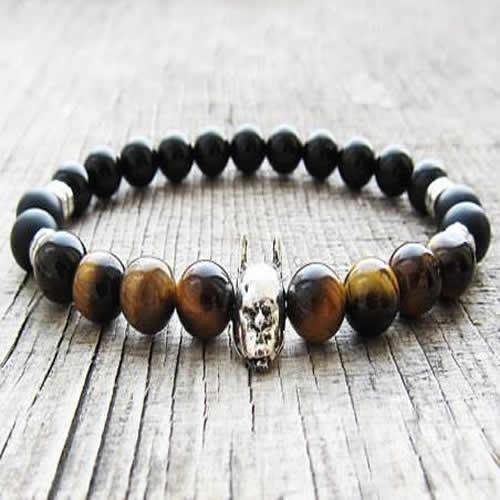 Matte Onyx and Tiger Eye Batman Bracelet