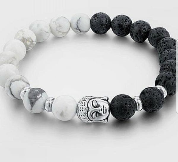 Lava stone and Howlite Buddha Bracelet