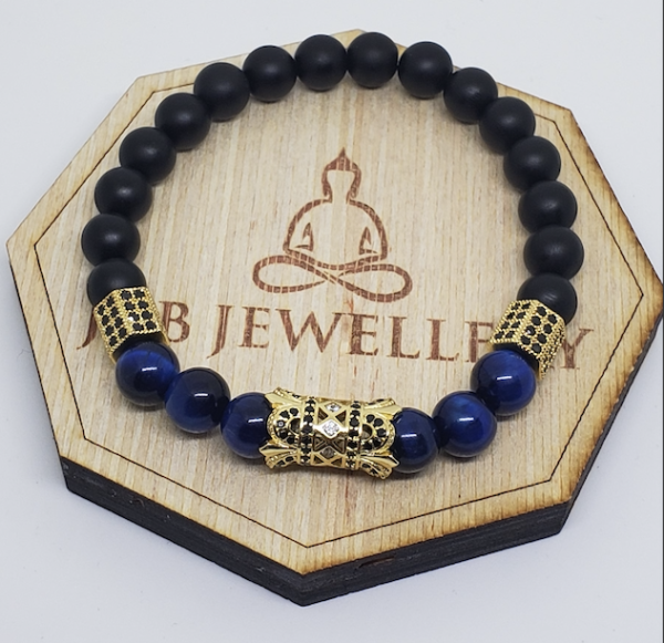 Black Matte Onyx/ Blue Tiger Eye Pave Spacer