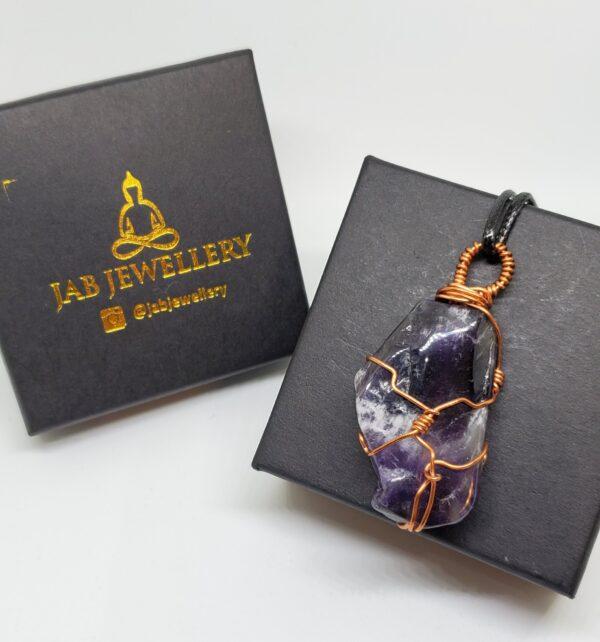 Amethyst Copper  wrap pendant