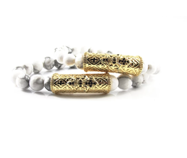 His & Hers 18kt. Gold Plated Royal   White Greek Howlite